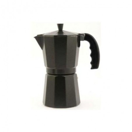 Cafetera italiana Orework de aluminio negra apta para inducción